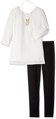 Amy Byer Big Girls' 3/4 Sleeve Bow Back Detail Tunic with Legging, Gold, Large