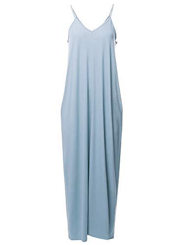 Casual Premium Adjustable Strap Side Pocket Loose Maxi Dress Ashblue 1X
