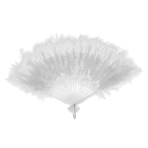 Agordo Feather Fans Burlesque Women Dance Props Hand Goose Feather Folding Fan |Color - White