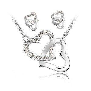 Double Heart Crystal Charm Pendant Necklace and Earring Set Fashion Jewelry Heart Charm Necklace Earrings
