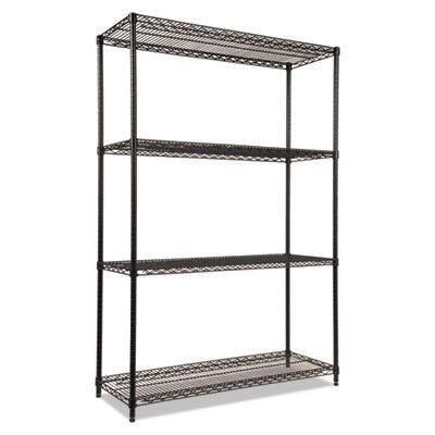 - ALERA SW504818BL Wire Shelving Starter Kit, Four-Shelf, 48w x 18d x 72h, Black
