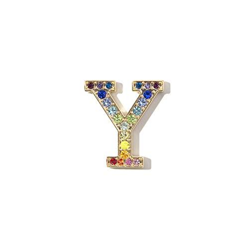 (Sonix Crystal Embellished Metal Alphabet Letter Sticker - Rainbow (Y))
