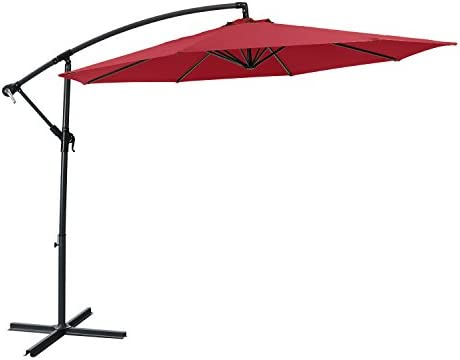 PHI VILLA 10 FT Patio Offset Umbrella with Crank System, Burgundy Cross Base Included