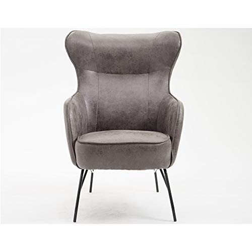 Skokie Accent Chair in Smokey Gray with Faux Leather Upholstery And Metal Base, by Artum - Accent Hill