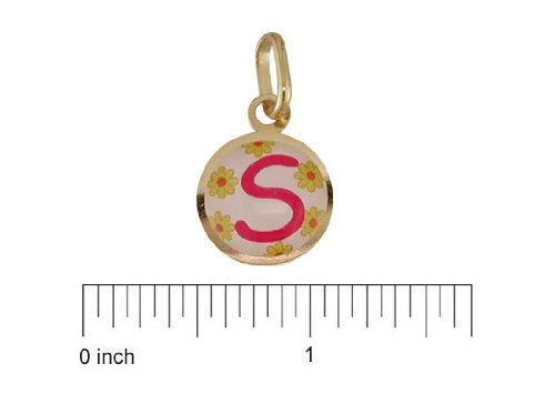 18K Yellow Gold Pink S enamel Medal (11mm/18mm with Bail)