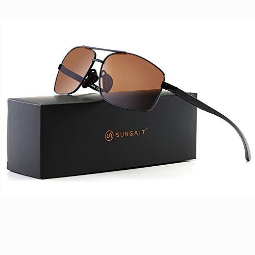 SUNGAIT Ultra Lightweight Rectangular Polarized Sunglasses 100% UV protection (Black Frame Brown Lens, 62) Metal Frame 2458 HEKC