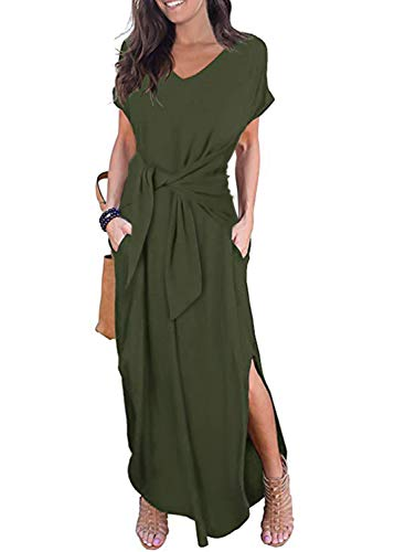 CANIKAT Womens V Neck Tie Front Long Dress Casual Loose Short Sleeve Solid Split Maxi Dresses with Pockets Army Green L (Front Long Dress)