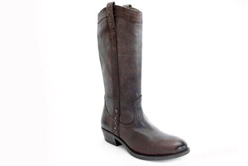 Wrangler L10460B - Bottes hautes en cuir - petit talon - style cowboy - marron