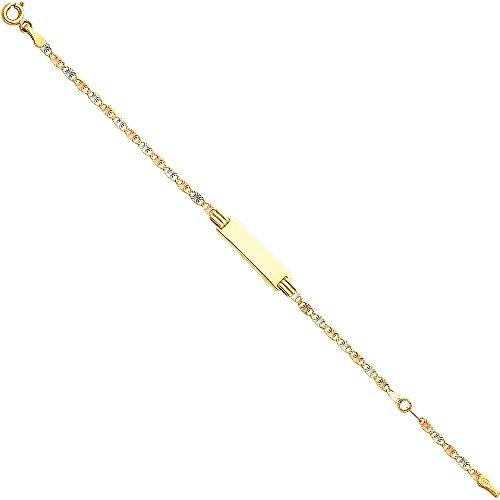 CUSTOM ENGRAVED - 14K Tri Tone Color Valentino DC Baby ID Bracelet - 5+1'' by Jewelry by Ioka