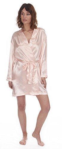 Damas Satén Seda Set Pijama Sedoso verano Salón Pijamas o bata Rose Pâle Robe De Chambre