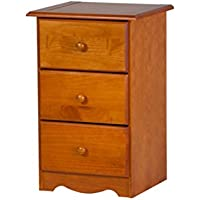 100% Solid Wood 3-Drawer Night Stand by Palace Imports, Honey Pine Color, 28H x 18W x 16D. Metal Antique Brass Knobs Sold Separately. Requires Assembly