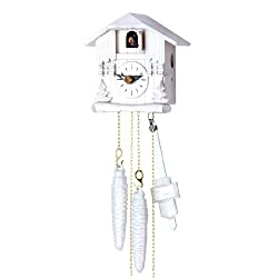 Beautiful House Design Cuckoo Clock with One Day Movement in White Color 5.4 Inch