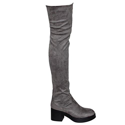 Beston EJ48 Frauen Stretchy Snug Fit Seitlichem Reißverschluss Oberschenkel Hohe Stiefel Halbe Größe Big Grau