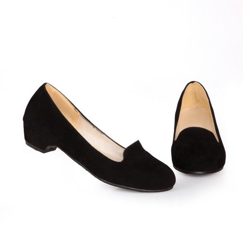 VogueZone009 Womens Closed Round Toe Low Heel Suede PU Frosted Solid Pumps Black 8kPC0jo