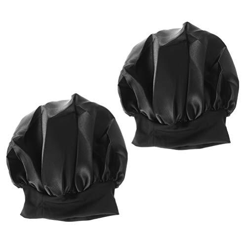 Lurrose 2pcs Sombrero de Gorro de Dormir de saten Banda Ancha Gorra de Noche Suave para Mujeres y Chicas (Negro)