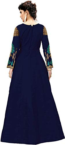 31SDO54cBjL Fast Fashions Women's Embroidered Phantom Slik Semi Stitched Anarkali Gown (Free Size)