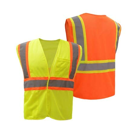 Safety Vest Style 3503 FR Treated (NFPA 701) Non-ARC Rated | Hi Vis Vests Reflective | Hook & Loop Front Closure | ANSI 107 Class 2 Compliant (Hi-Vis Yellow, 3XL) ()