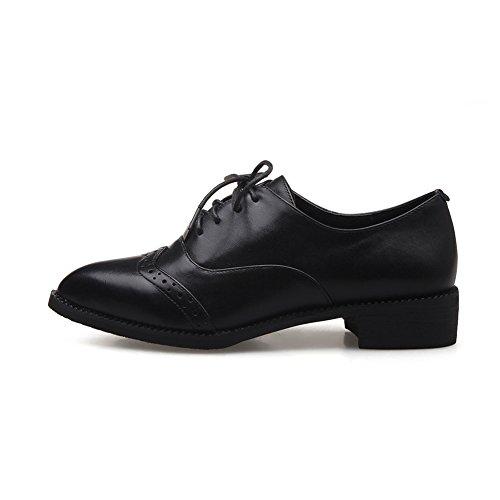 RoseG Mujer Zapatos Cuero Cordones Punta Negro