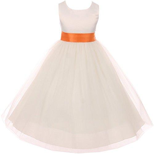 Big Girl Sleeveless Customizable Sash Big Bow Wedding Flower Girl Dress USA Orange 12 KD 411 IV