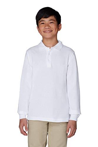 Collar Polo Pique Shirt - French Toast Boys' Little Long-Sleeve Pique Polo, White, S (6/7)