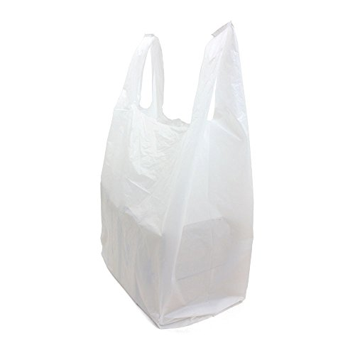 Construction White T-shirt - SafePro JSBW, 18x10x32-Inch White Plastic Jambo T-Shirt Shopping Bags, Polyethylene Grocery Bags, 250-Piece Case