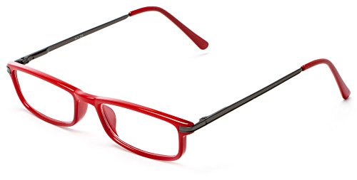 Readers.com The Leading Lady +1.75 Red/Grey Narrow Rectangular Lens Readers Half or Full Frame Rectangle Reading - Full Glasses Frame Frame Or Half