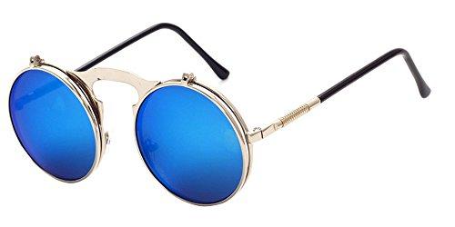 hommes Retro Bleu soleil Style pour Round Flip Lunettes de Circle et KINDOYO femmes Steampunk Lens up Argenté Metal ORwq4