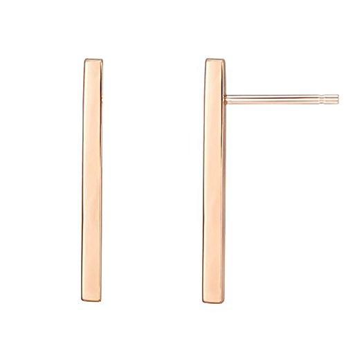PAVOI 14K Rose Gold Plated Sterling Silver Post Dainty Mini Bar Stud Earrings | Gold Earrings for Women | Long