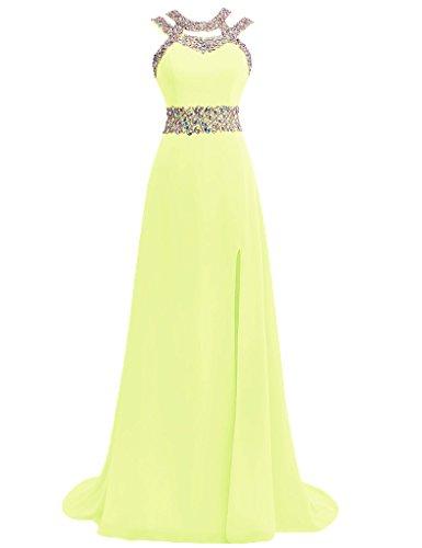 JAEDEN Mujer Cuello h¨¢lter Vestidos de baile Largo Gasa Vestido de noche Vestido formal Amarillo