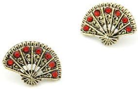 Par Pendientes de Perlas Abanicos Color Bronce con Piedras de Aplicaciones Rubíes Rojas Vintage
