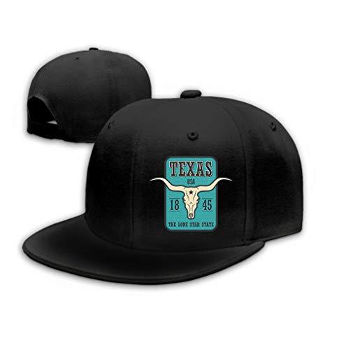 Classic Cotton Dad Hat Adjustable Plain Cap Custom Denim Baseball Cap for Adult Texas State Print Longhorn Skull Design Stamp Label Black