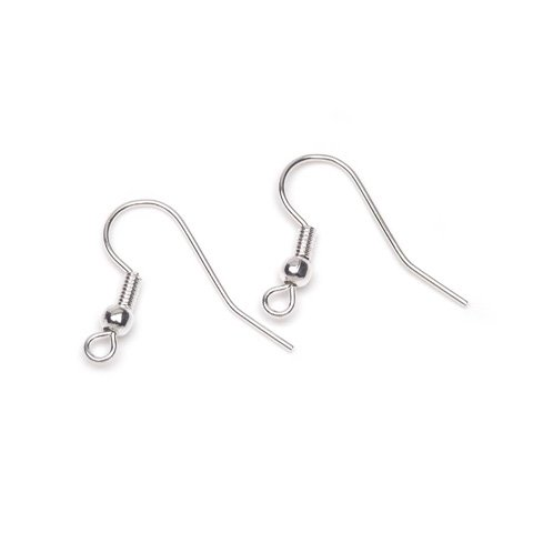 Fish Hook or French Hook Earring Wires (Sterling Silver Plated (Bright Silver), 1 inch, 12 pcs/pkg)