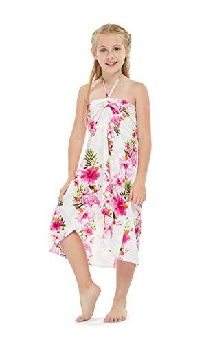 Girl Hawaiian Halter Dress in Pink Hibiscus Vine Size 12