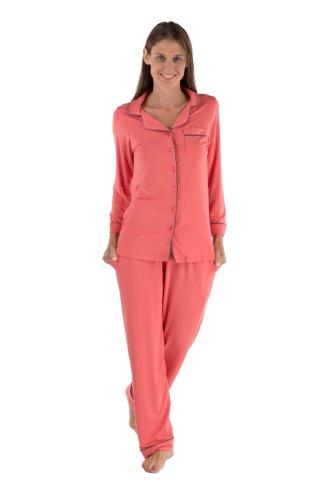 TexereSilk Women's Button-Up longe Sleeve Pajamas (Classicomfort, Coral, 3X) Anniversary Birthday Gift Ideas For Ladies WB0004-CRL-3X