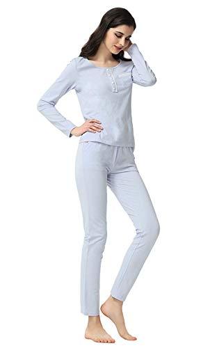 Pantalones Casuales Redondo Otoño Mujeres Cómodo Botón Fashion Pijamas Cuello Hellblau Informales Conjunto Para Elegante Manga De Mujer Pijama Con Ropa Hogar Primavera Largo El xqTz0pxBWw