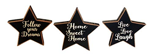 Wooden Tabletop Star Decor Set of 3 Small Inspirational Script Block Signs Country Primitive Americana Home Decor - Country Blocks Primitive Sign