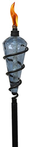 TIKI Brand 64-inch Swirl Metal Torch with Blue Bubble Glass Head -