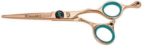 (Kissaki Hair Scissors Tsuchi 5.5″ Hair Scissors Rose Gold Titanium Salon Hair Cutting Shears)