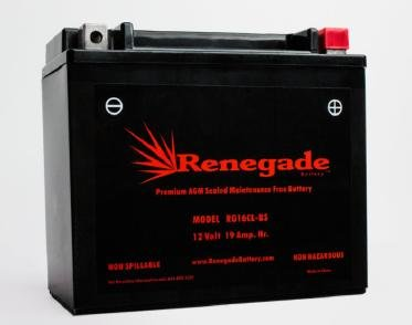ATV Battery; RG16CL-BS; Bombardier (1999-2005) Traxter 500 4x4 Auto, Traxter 500 4X4 Auto XT, Traxter 500 XL, Traxter Max 500 4x4 Auto Part# GT16L-BS, PTX19CLBS-FS, BTX16CL-BS, WP16CL-BS