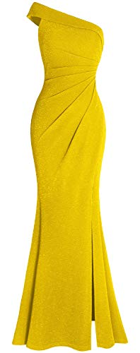 Slim Prom Gown - Fazadess Women's Ruched One Shoulder Side Split Slim Formal Evening Party Dress Yellow