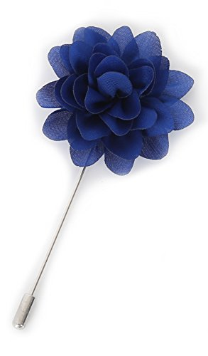 Flairs New York Gentleman's Essentials Premium Handmade Flower Lapel Pin Boutonniere (Pack of 1 Pin, Lapis Blue [Daisy])