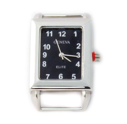Ribbon Watch Face Geneva - Geneva Elite Ribbon bar watch face for beading, Black Dial Rectangle RBNWatch02