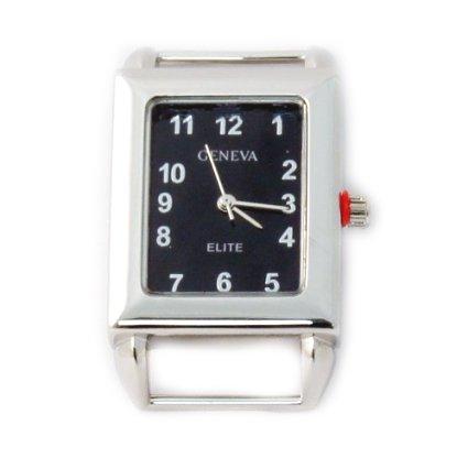 Geneva Face Ribbon Watch - Geneva Elite Ribbon bar watch face for beading, Black Dial Rectangle RBNWatch02