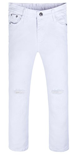 GALMINT Girls Fashion Skinny Fit Jeans Distressed Ripped Hole Denim Pants White 10t (White Skinny Jeans Girls)