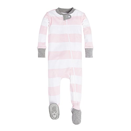 (Burt's Bees Baby Baby Girls' Pajamas, Zip Front Non-Slip Footed Sleeper Pjs, 100% Organic Cotton, Pink Rugby Stripe, 12)