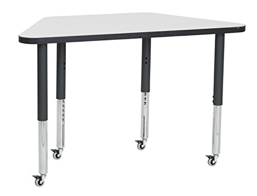 ECR4Kids Dry Erase 24'' x 48'' Trapezoid Whiteboard School Activity Table, Super Legs w/ Glides and Casters, Adjustable Height 19-30 inch (Black) by ECR4Kids