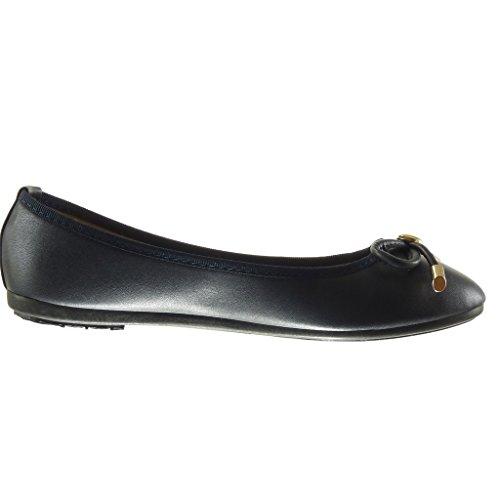 Angkorly - Zapatillas de Moda Bailarinas slip-on mujer nodo metálico Talón tacón plano 1 CM - Azul