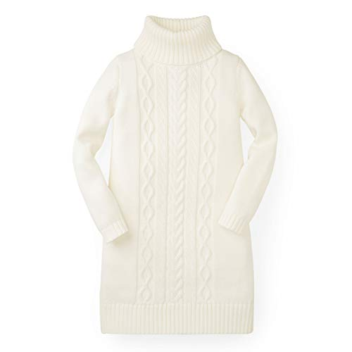 Hope & Henry Girls' White Turtleneck Sweater Dress Made with Organic Cotton by Hope & Henry