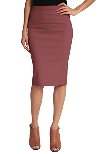 TheMogan Women's Basic Comfort Stretch Cotton Elastic Waist Knee Length Pencil Skirt (Juniors Small, 291 Dusty Plum) (Waist Skirt Length Knee Pencil)