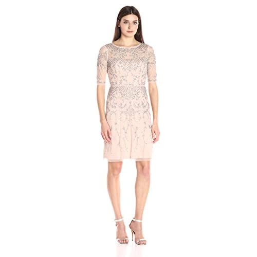Adrianna Papell Women's 3/4 Sleeve Fully Beaded Cocktail Dress with Illusion Neckline
